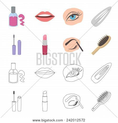 Mascara, Hairbrush, Lipstick, Eyebrow Pencil, Makeup Set Collection Icons In Cartoon, Outline Style
