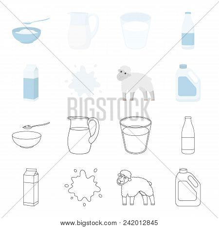 Billet Pack, Sheep.blue, Canister.moloko Set Collection Icons In Cartoon, Outline Style Vector Symbo