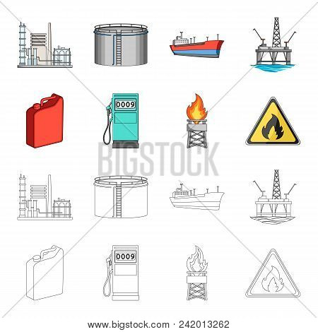 Canister For Gasoline, Gas Station, Tower, Warning Sign. Oil Set Collection Icons In Cartoon, Outlin