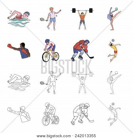 Cycling, Boxing, Ice Hockey, Volleyball.olympic Sport Set Collection Icons In Cartoon, Outline Style