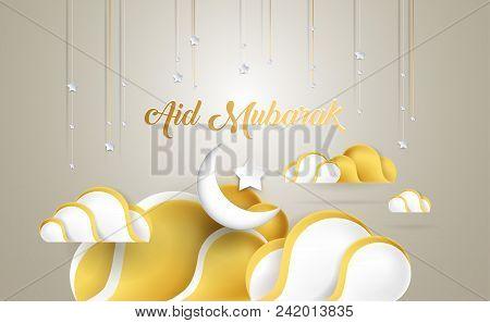 Aid Mubarak Beautiful Greeting Card With Golden Clouds, Moon, Stars. Aid Mubarak Is About Celebratio