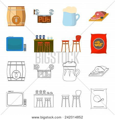 Tv, Bar Counter, Chairs And Armchairs, Potato Chips.pub Set Collection Icons In Cartoon, Outline Sty