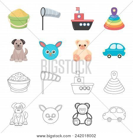 Children Toy Cartoon, Outline Icons In Set Collection For Design. Game And Bauble Vector Symbol Stoc
