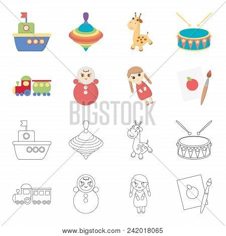Train.kukla, Picture.toys Set Collection Icons In Cartoon, Outline Style Vector Symbol Stock Illustr