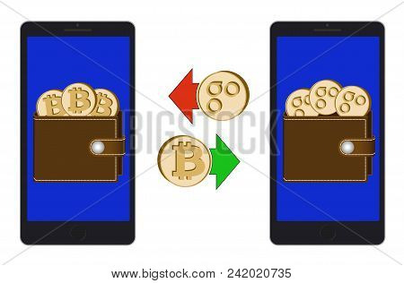 Exchange Between Bitcoin And Omisego In The Phone On A White Background , Exchange Cryptocurrency In