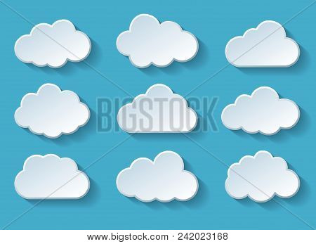 Clouds With Shadow. Summer Cartoon Cloud Set, Vector Clouds Sticker Shapes Isolated On Blue Backgrou
