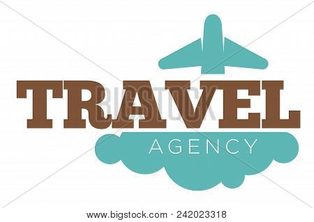 Travel Agency Promo Logotype With Plane And Cloud. Vacation At Foreign Countries Arrangement. Journe
