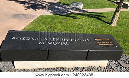 Phoenix, Az, Usa - December 15, 2017: Tribute To Arizona Fallen Firefighters In Wesley Bolin Memoria