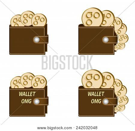 Set Of Brown Wallets With Omisego Coins On A White Background , Crypto Currency In The Wallet,sign