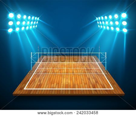 An Illustration Of Hardwood Perspective Vollyball Field Court, Net With Bright Stadium Lights Shinin
