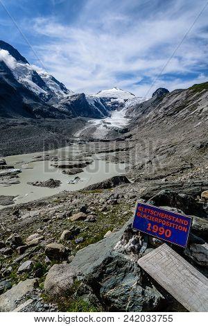 Sign Indicating The Retreat Of Grossglockner Glacier From 1990. Glacier Position 1990