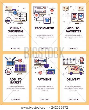 Vector Set Of Mobile App Onboarding Screens. Online Shopping, Recommend, Add To Favorites, Add To Ba