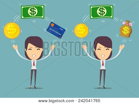 Woman Holding Credit Plastic Card And Money Bills. Concept Of Financial Operations, Transactions, In