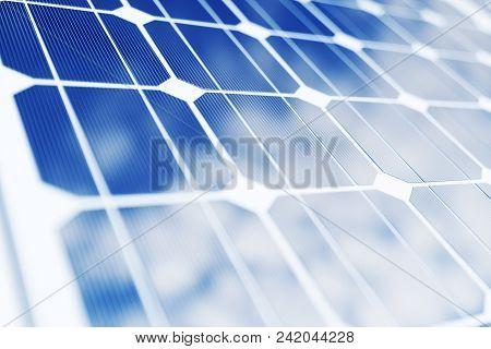 3d Rendering Solar Power Generation Technology. Alternative Energy. Solar Battery Panel Modules With