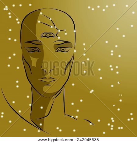 Sign Of Zodiac Capricorn. Girl Is Fortuneteller With Third Eye, Constellation, Sign Of Zodiac And Pl