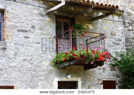 Ancient Balcony On Stone House
