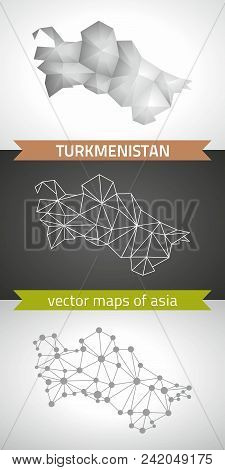 Turkmenistan Collection Of Vector Design Modern Maps, Gray And Black And Silver Dot Contour Mosaic 3