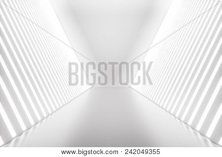 3d Rendering Abstract Room Interior With Neon Lights. Futuristic Architecture Background. Mock-up Fo