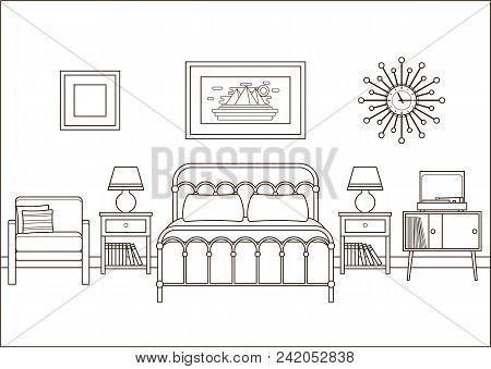 Bedroom Interior. Hotel Room With Double Bed. Vector Illustratio