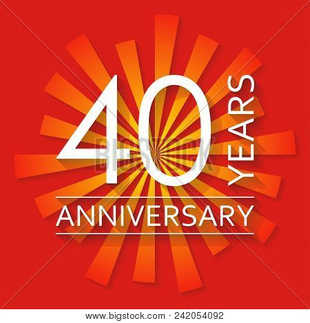40 Years Anniversary Emblem. Anniversary Icon Or Label. 40 Years Celebration And Congratulation Desi