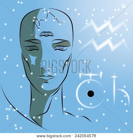 Sign Of The Zodiac Aquarius. Girl Is A Fortuneteller With Third Eye, Constellation, Sign Of Zodiac A