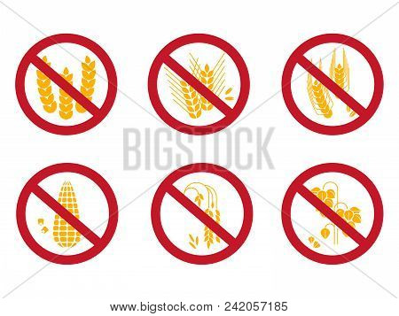 Grains Free Icons Set. Gluten Free, Rice Free, Corn Free Icons Isolated On White Background. Vector