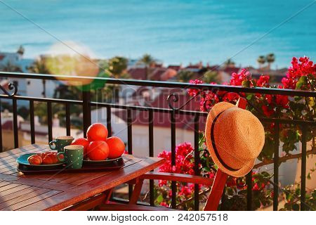 Breakfast With A View On Balcony Terrace At Sea
