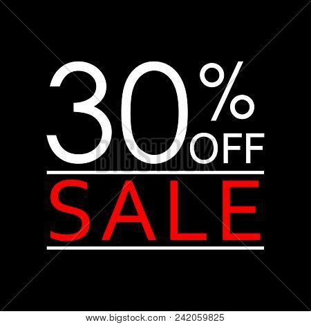 30% Off. Sale And Discount Price Icon. Sales Tag Design Template. Vector Illustration.
