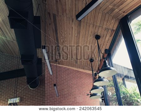Light Wooden Cafe Interior, Cafe Ceiling Interior Lighting (vintage Tone)