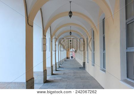 Building Architecture Arched Passageway, Straight Long Gallery Corridor. Perspective View Of Arch Va