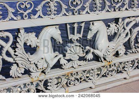 Bridge Railing Historical Ornament Balustrade With Decorative Horses At Annunciation Bridge In Saint
