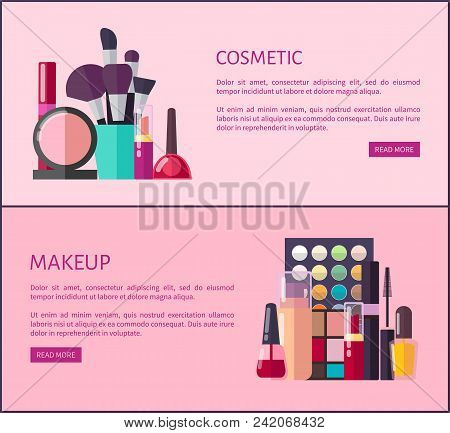 Cosmetic And Makeup Promo Internet Pages. Thick Brushes, Eyeshadow Palettes, Black Mascaras, Glossy
