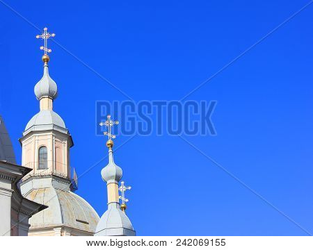 Church Domes With Religious Cross.  Christian Orthodox Church Architecture Element Isolated On Empty