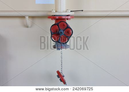 Industrial Fire Sprinkler Valve. Fire Caution Equipment Close Up View, Emergency, Safety And Caution