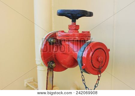 Valve Fire Caution Equipment Isolated Close Up View. Industrial Device That Regulates, Directs Or Co