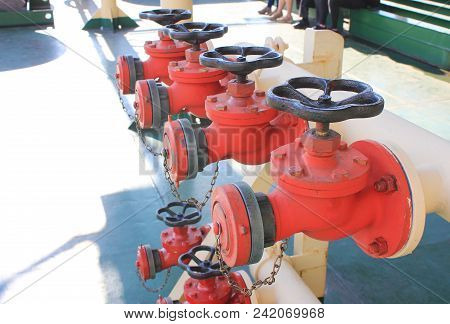Industrial Fire Sprinklers In Row. Valve Emergency, Safety And Caution Concept. Industrial Fire Figh