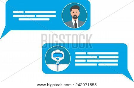 Smart Chatbot For Your Business Concept. Future Internet Marketing. Chat Bot And Man Icons With Spee