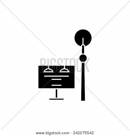 Communication Tower Black Icon, Vector Illustration. Communication Tower  Concept Sign.