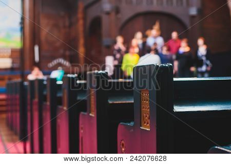 Catholic Lutheran Cathedral Interior With Church Choir Singing In The Background