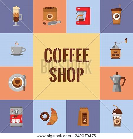 Coffee Flat Icons Set. Modern Icons For Coffee Shop And Coffee House. Colorful Template For Your Des