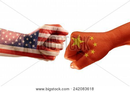 Trade conflict, fists with the flags of USA and China against each other, isolated on a white background poster