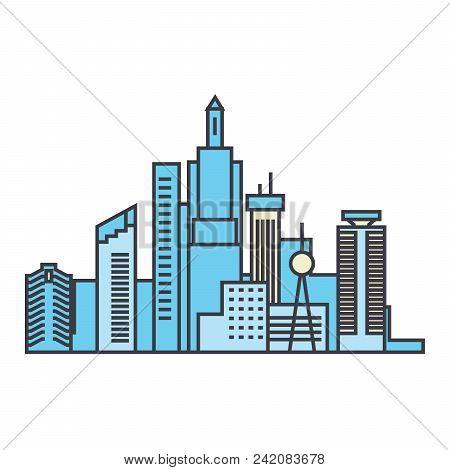 Capital Skyline Line Icon, Vector Illustration. Capital Skyline Flat Concept Sign.