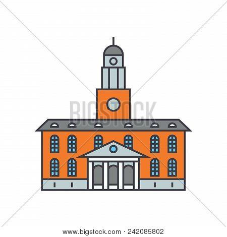 University Building Line Icon, Vector Illustration. University Building Flat Concept Sign.