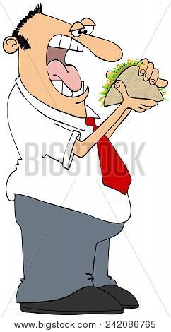 Illustration Of A Ravenous Man With His Mouth Wide Open Eating A Taco.