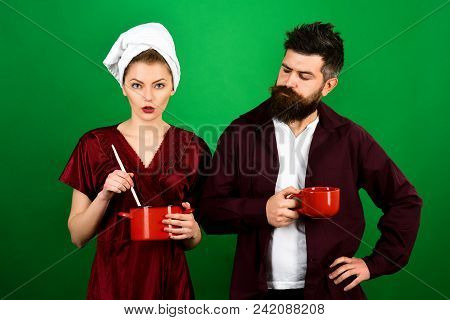 Couple. Romantic Couple Prepares Breakfast. Loving Couple Having Breakfast. Concept Of Love. Husband
