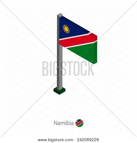 Namibia Flag On Flagpole In Isometric Dimension. Isometric Blue Background. Vector Illustration.