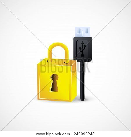 Gradient Icon Usb Security Technology Elements Vector Illustration.