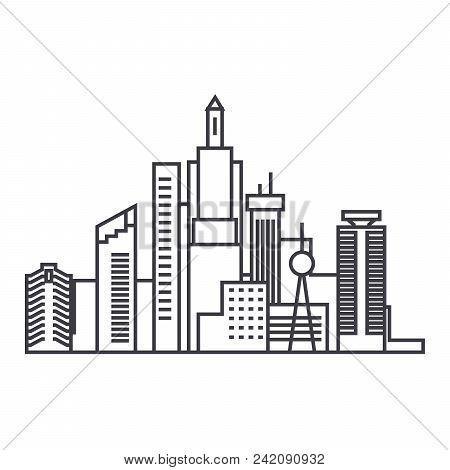 Capital Skythin Line Thin Line Icon, Vector Illustration. Capital Skythin Line Linear Concept Sign.