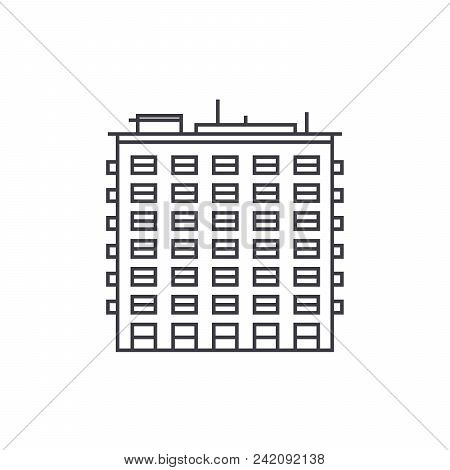 Multi Storey Building Thin Line Icon, Vector Illustration. Multi Storey Building Linear Concept Sign