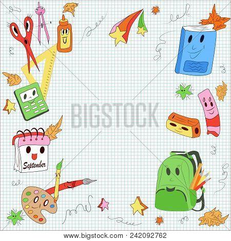 First School Day, School Items: Glue, Calendar, Calculator, Rubber Band, Scissors, Sharpener, Compas